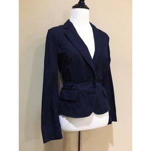 Ann Taylor Navy Blue Cotton 1-Button Blazer Jacket